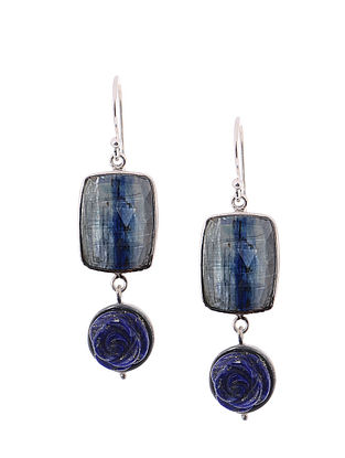 Kyanite and Lapis Lazuli Silver Earrings