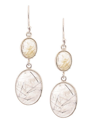 Rutile Quartz and Tourmalinated Quartz Silver Earrings