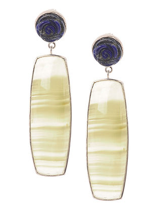Lapis Lazuli and Agate Silver Earrings