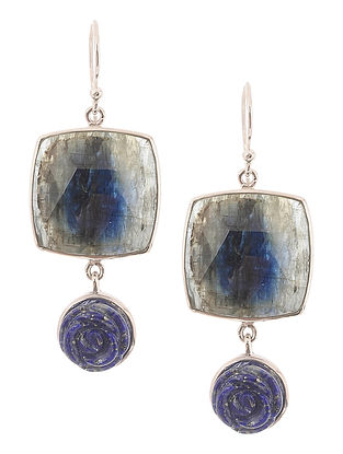 Kyanite and Lapis Lazuli Silver Earrings