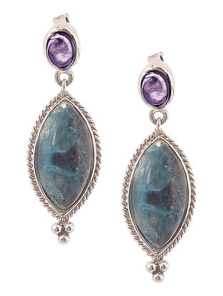Shattuckite and Amethyst Silver Earrings