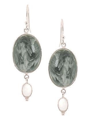 Seraphinite and Rainbow Moonstone Silver Earrings