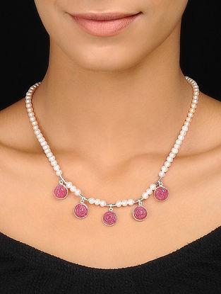 Quartz And Pearl Silver Necklace