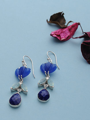 Quartz And Chalcedony Silver Earrings