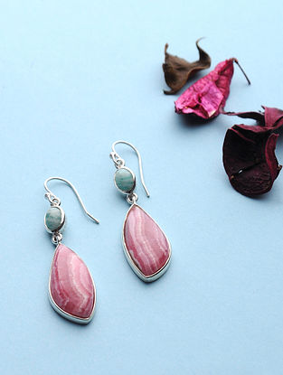 Rhodochrosite And Amazonite Silver Earrings