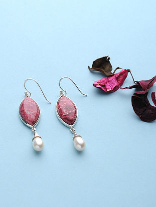 Thulite And Pearl Silver Earrings