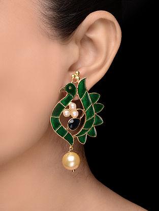 Green-Blue Enameled Gold Tone Earrings