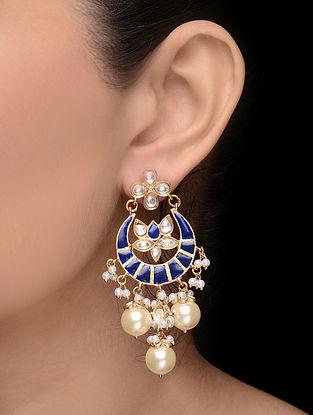 Blue Enameled Gold Tone Earrings