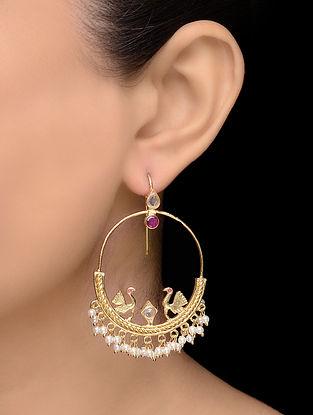 Purple Gold Tone Pearl Earrings