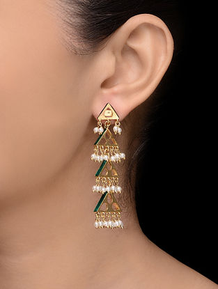 Green Gold Tone Pearl Earrings