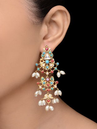 Turquoise-Coral Gold Tone Pearl Earrings