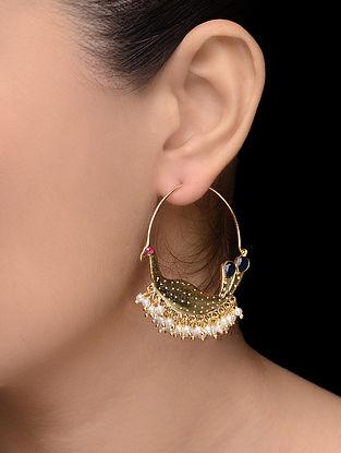 Blue-Pink Gold Tone Pearl Earrings