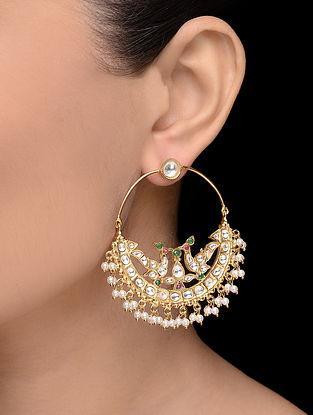 Purple-Green Gold Tone Pearl Earrings