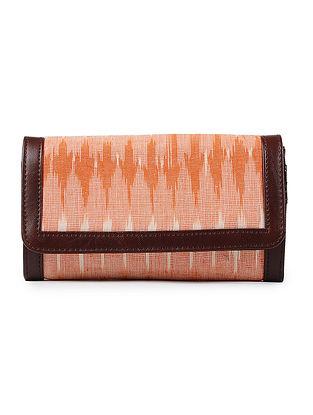 Orange-Cream Ikat Cotton Wallet