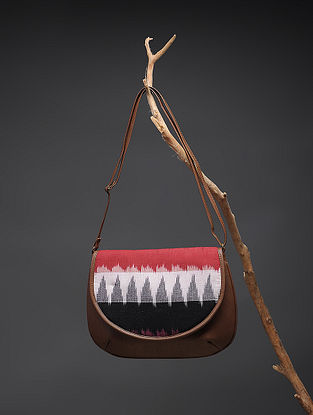 Brown-Multicolored Handcrafted Printed Cotton Sling Bag