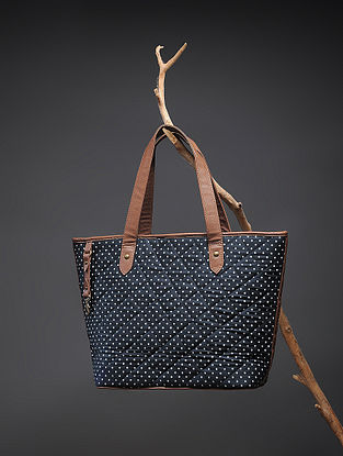 Blue-White Handcrafted Polka Dot Cotton Tote