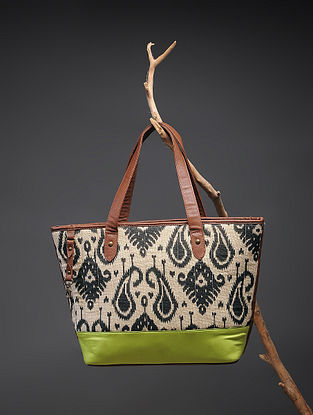 Beige-Green Handcrafted Printed Cotton Tote