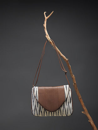Brown-White Handcrafted Ikat Cotton Sling Bag