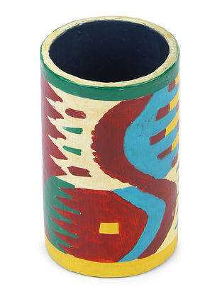 Red-Multicolor Hand-painted Papier-mache and Wood Pen Holder