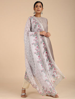 Ivory-Red Block-printed Linen Dupatta