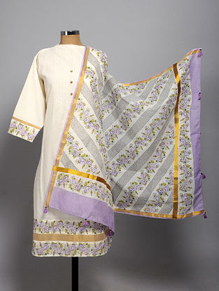 Ivory-Purple Block Printed Cotton Semi Stitched Kurta Fabric (Set of 2)
