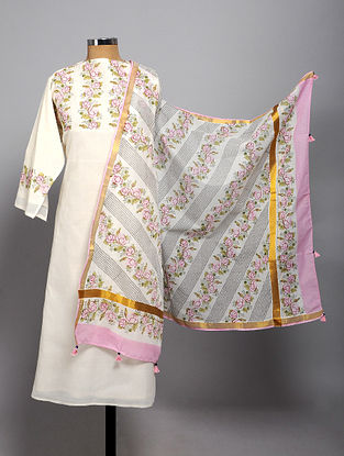 Ivory-Pink Block Printed Cotton Semi Stitched Kurta Fabric (Set of 2)