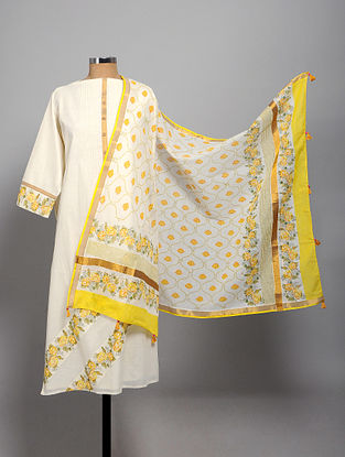 Ivory-Yellow Block Printed Cotton Semi Stitched Kurta Fabric (Set of 2)