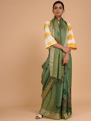 Green-Red Printed Linen Saree with Zari