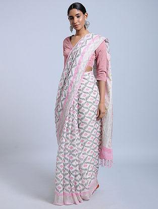 Ivory-Pink Block-printed Linen Saree with Zari
