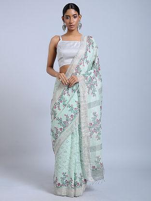 Green-Purple Block-printed Linen Saree with Zari