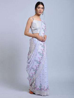 Blue-Pink Block-printed Linen Saree with Zari