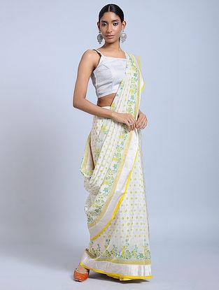 Ivory-Yellow Block-printed Chanderi Saree with Zari