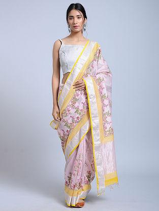 Pink-Green Block-printed Chanderi Saree with Zari