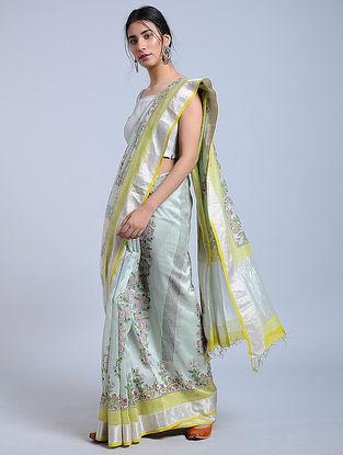 Grey-Yellow Block-printed Chanderi Saree