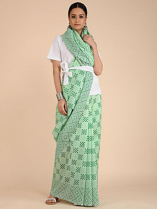 Green Printed Chanderi Saree with Tassels