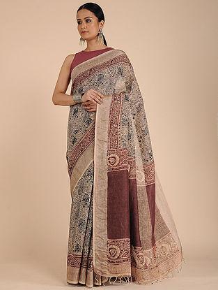 Beige-Maroon Kalamkari-printed Linen Saree