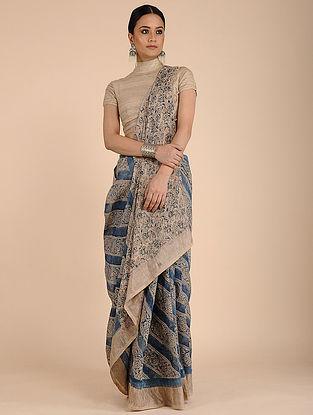 Beige-Blue Kalamkari-printed Linen Saree