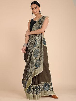 Burgundy-Blue Kalamkari-printed Linen Saree