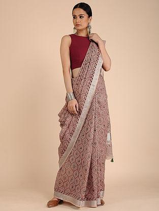Peach-Maroon Kalamkari-printed Cotton Saree with Tassels