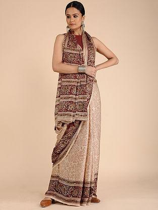 Beige-Maroon Kalamkari-printed Silk Saree with Tassels