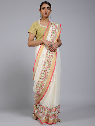 Ivory-Red Block printed Cotton Saree with Zari Border