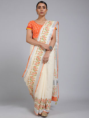 Ivory-Orange Block printed Cotton Saree with Zari Border
