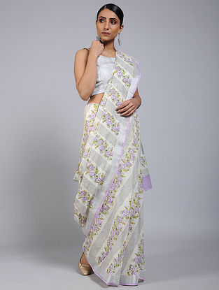 Purple-Grey Block printed Cotton Saree with Zari Border