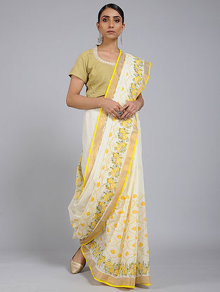 Ivory-Yellow Block printed Cotton Saree with Zari Border