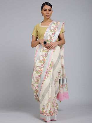 Ivory-Pink Block printed Cotton Saree with Zari Border