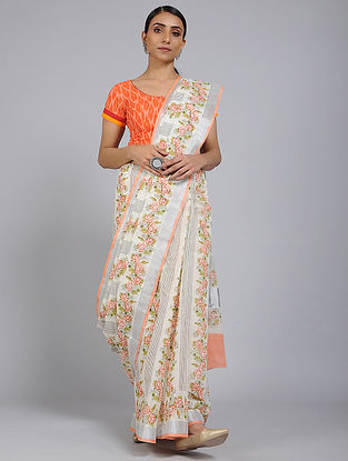 Orange-Grey Block printed Cotton Saree with Zari Border