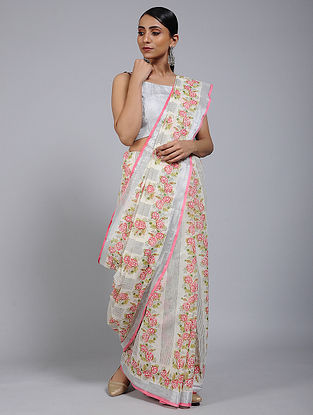 Pink-Grey Block printed Cotton Saree with Zari Border