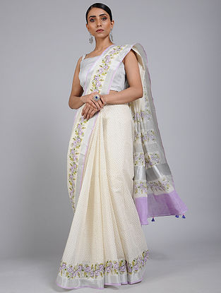 Ivory-Purple Block printed Cotton Saree with Zari Border