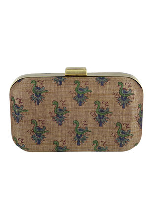 Beige-Multicolored Block Printed Khadi Clutch
