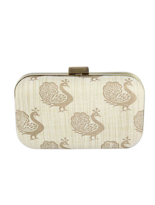 Beige Block Printed Khadi Clutch